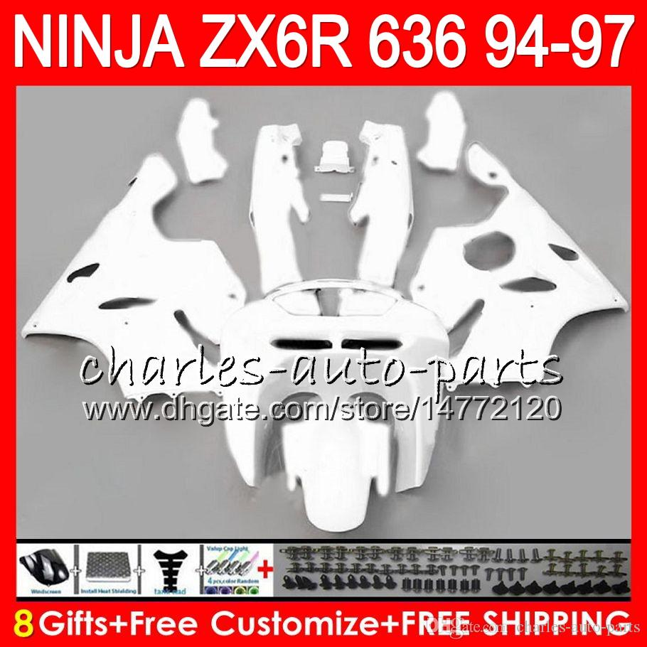 8Gifts 23Colors For KAWASAKI NINJA ZX636 ZX6R 94 95 96 97 ZX-6R ZX-636 gloss white 33NO23 600CC ZX 636 ZX 6R 1994 1995 1996 1997 Fairing kit