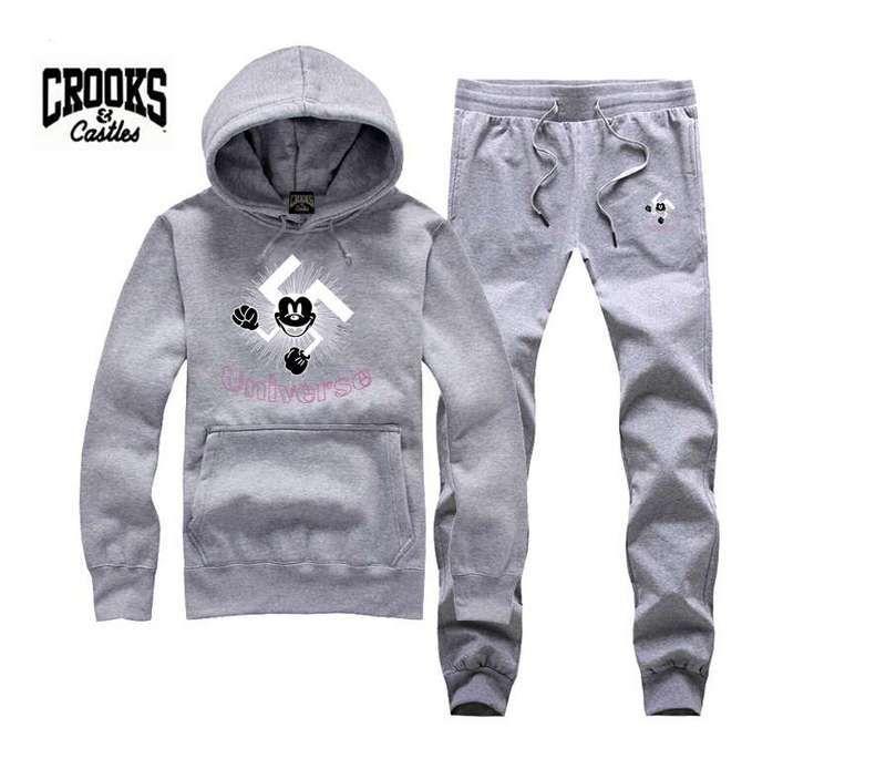Hot-sale 2017 New Crooks and Castles hoodies +PANTS suit for Men and Women Fleece Lined Hip Hop Skateboard Crewneck Sweatshirts S-3XL