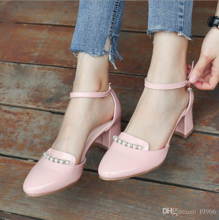 25ff290a49347 New Arrive Leather Sandals Women Fashion Summer Sweet Wedding Heeled ...