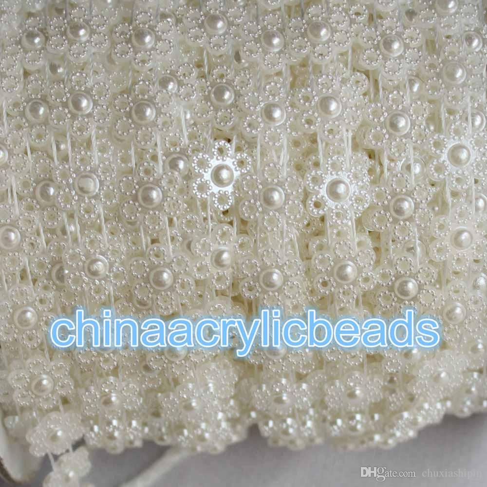 Wholesale 10 Yard/Roll 11MM Flat Back Flower Pearl Bead String Trim Chain Pearl Beaded Trim Ribbon For Sewing Wedding Dress