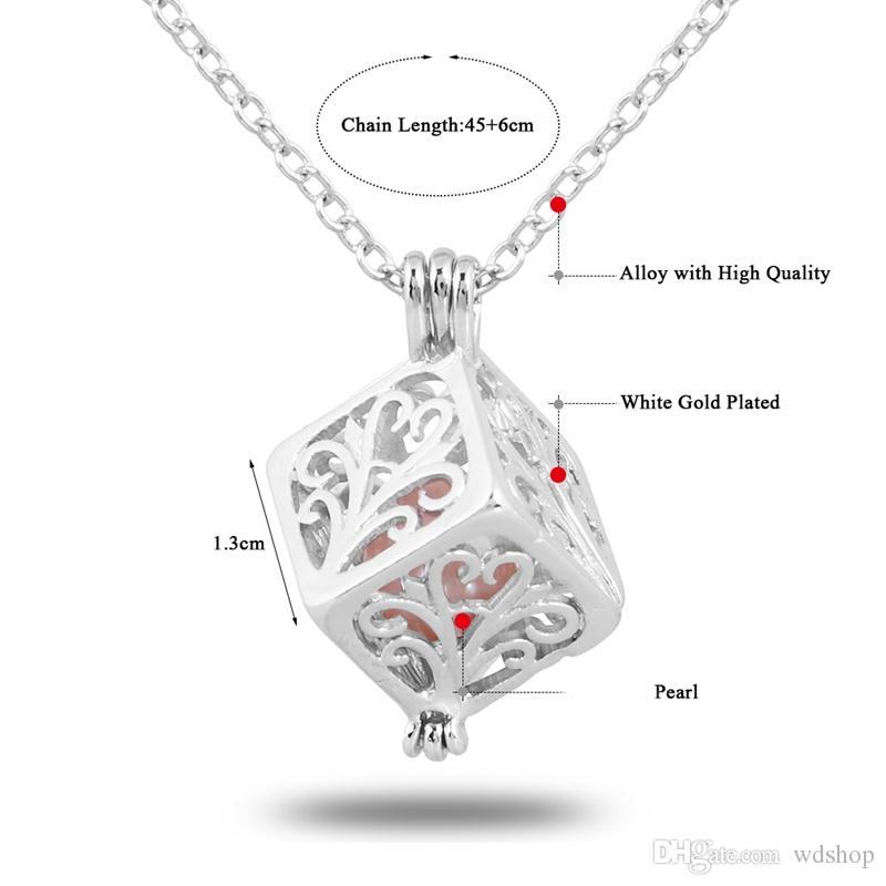 Weißgold Perle Cage Anhänger Halskette hohlen Liebe Herz Halsketten mit Oyster Pearl 18 Zoll Gliederkette