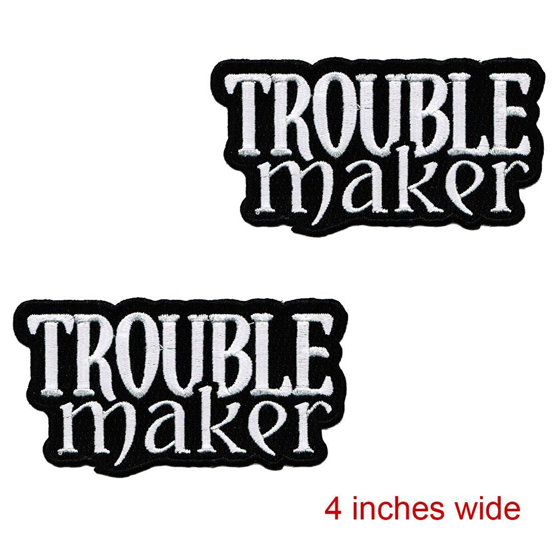 Personalizar El precio bajo barato con el parche del fabricante de problemas Bordado Rebelde Hierro-En Logotipo peligroso Envío gratuito