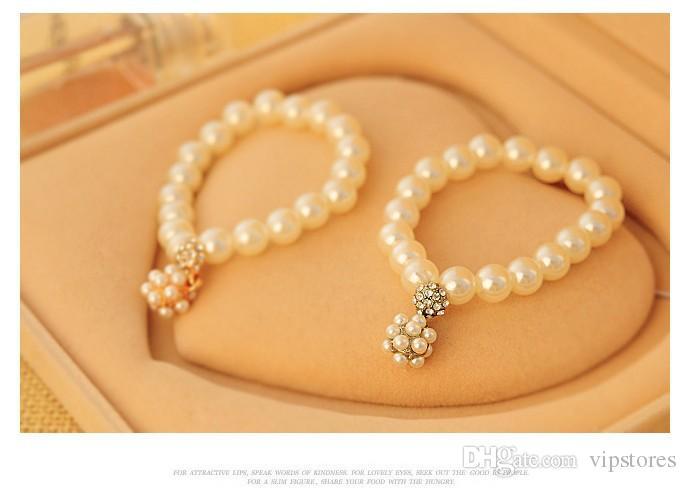 Elegante pérola bola charme pulseiras de cristal frisado pulseiras de strass ouro prata pulseira de pérolas pulseira para a jóia do casamento de noiva