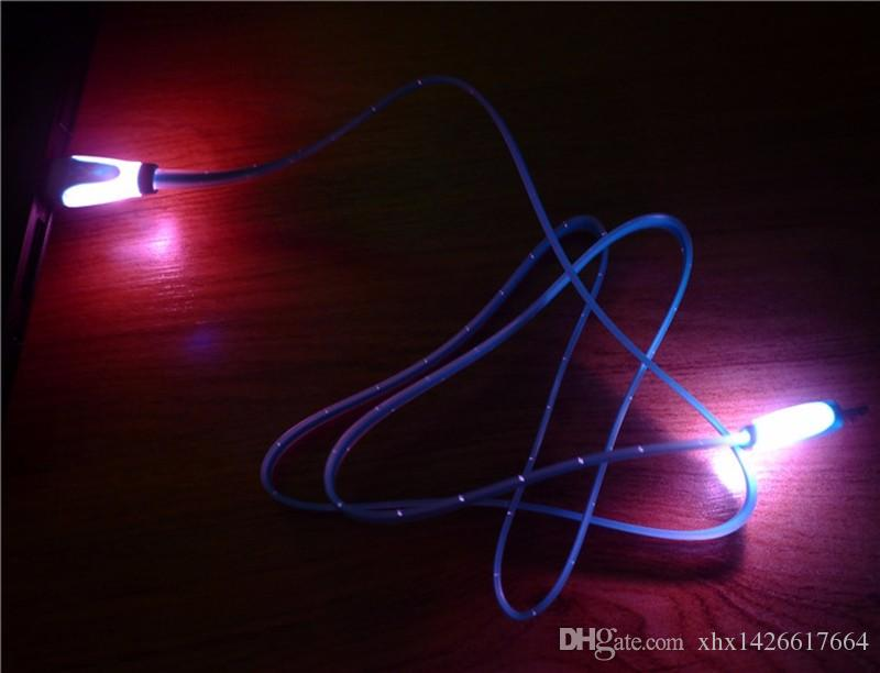 Hi-Q Flat Noodle LED Light Micro USB Fast Data Sync Charge Cable for Samsung HTC LG HuaWei OPPO Android Devices