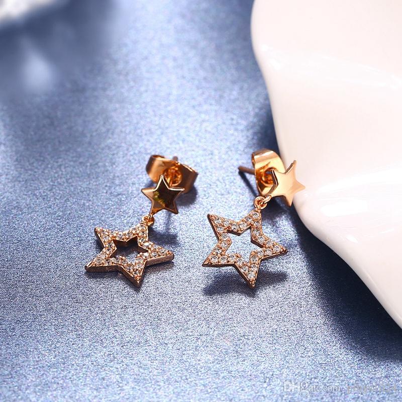 Encantos ROXI Estrelas Brilhantes Do Parafuso Prisioneiro / Cadeia Colar de Jóias de Moda Conjunto Rose Banhado A Ouro Pingente De Casamento Presente