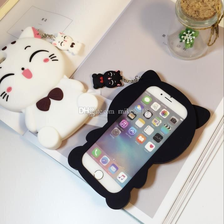 Bonito silicon 3d cat bow case para iphoneX 8 8 plus case para iphone 5 se 6 6 s plus 7 7 plus animal dos desenhos animados adorável casos de telefone de borracha tampa traseira