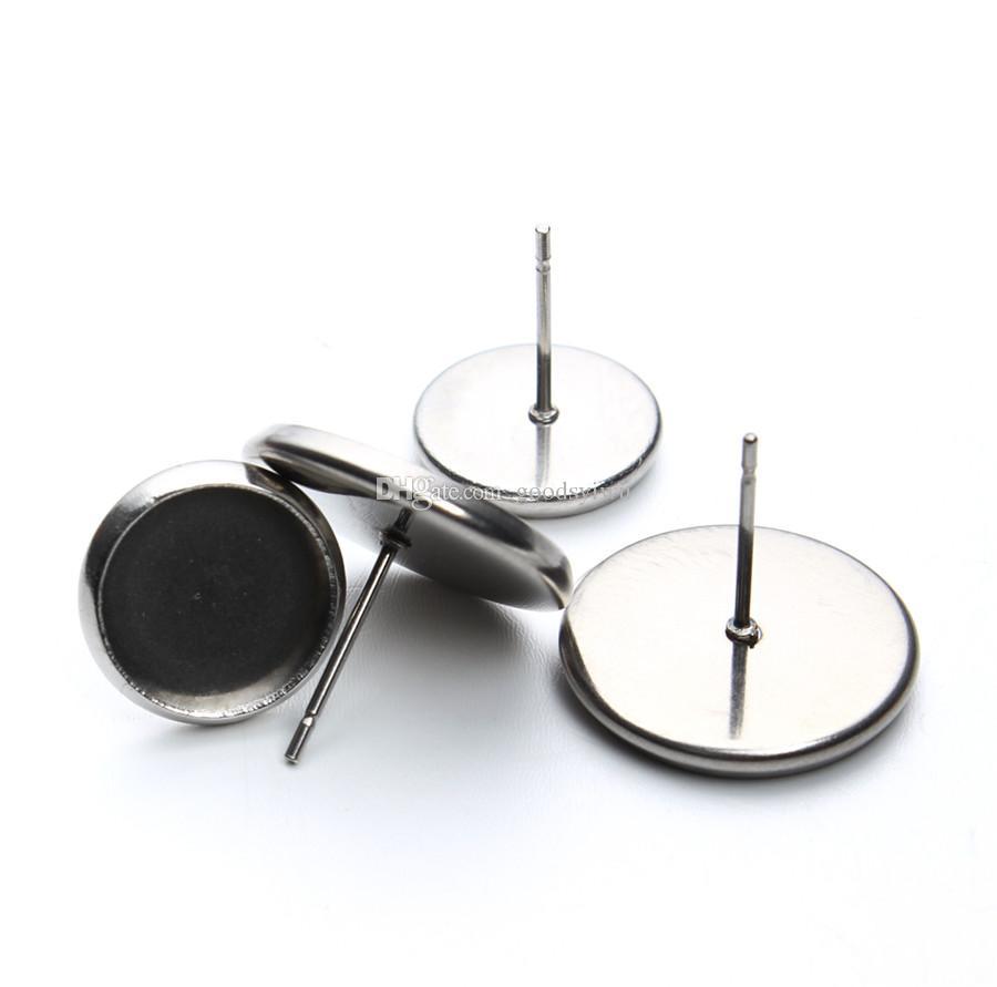 12mm Paslanmaz Çelik Yuvarlak Küpe Çiviler Küpe Boş Bankası uydurma Cam Cabochons Mantar Taban Bulguları Bileşenleri