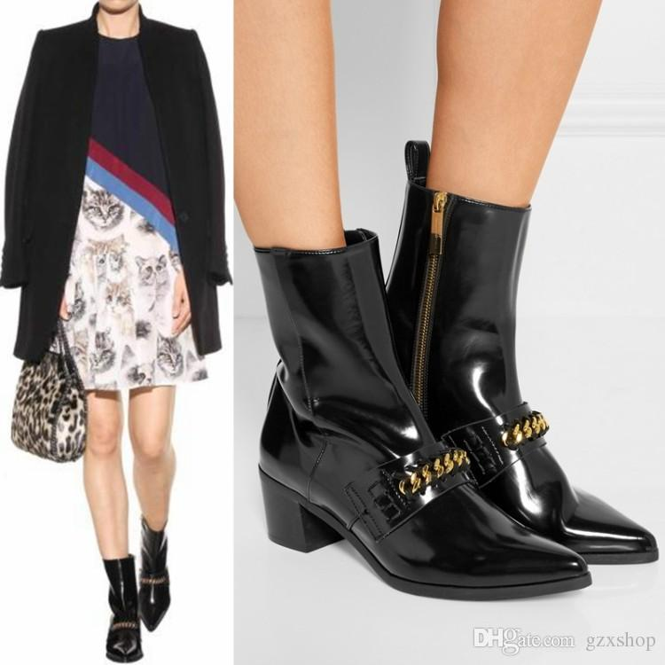 New Lady Fashion Women Patent Leather Motorcycle Ankle Style Chains Leisure Boots For Women Spring/Autumn Chunky Heel Booties Martin Boots