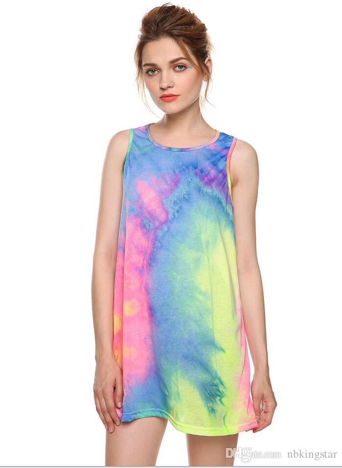 Frauen tie dye kurze weste dress 2017 sommer lose gradienten o neck weibliche mini t-shirt tank kleider