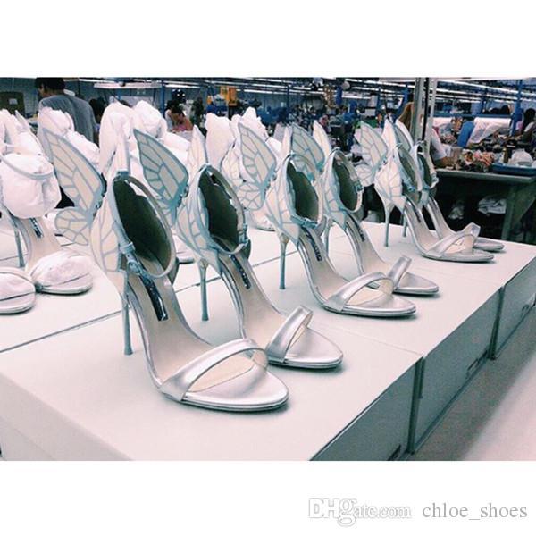 2017 Nouvelles Chaussures Femme Retour Papillon Sandales Doux Chic Talons Hauts Designer Mujer Sandales Côté Strap Cheville Sexy Femmes Chaussures Plus