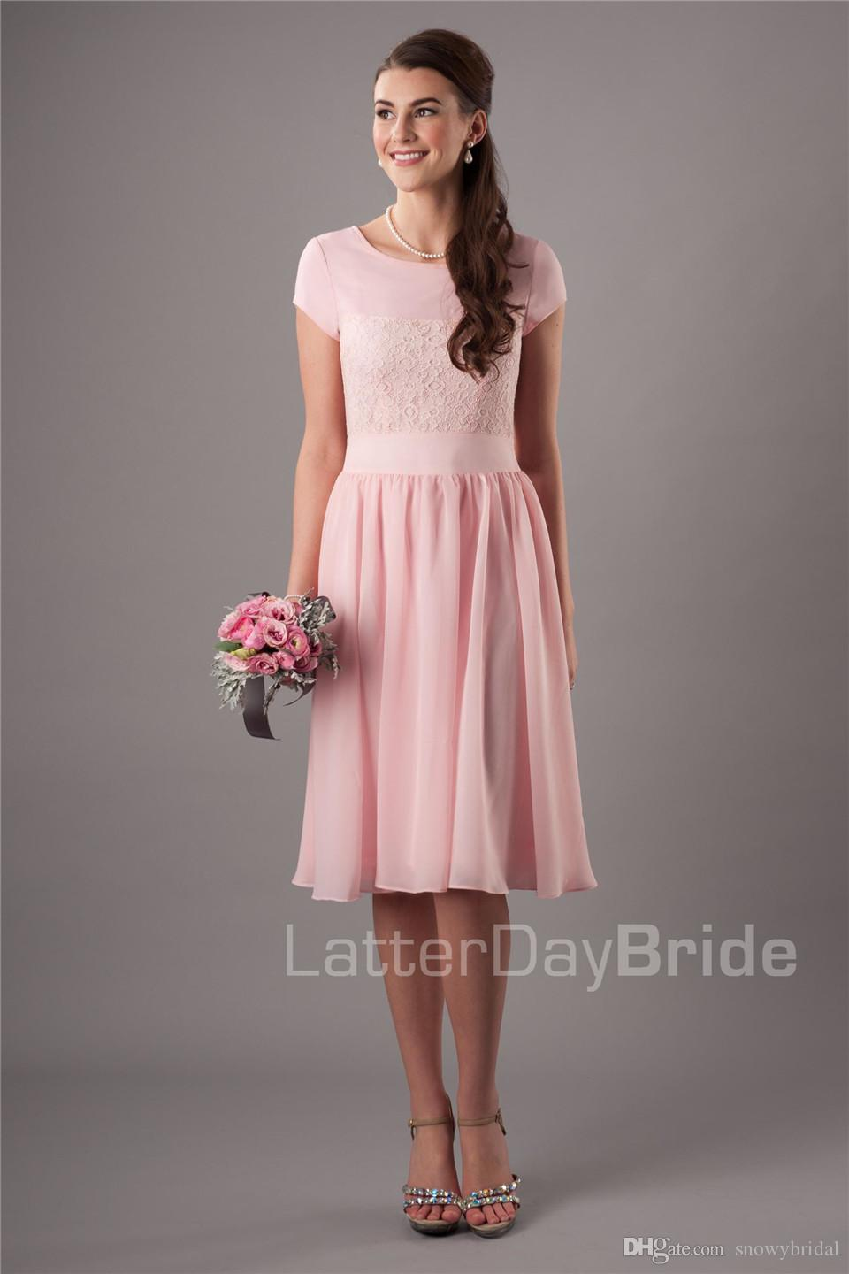Blushing short modest bridesmaid dresses with short sleeves lace blushing short modest bridesmaid dresses with short sleeves lace chiffon a line maids honor dresses knee length wedding party dresses custom purple ombrellifo Image collections