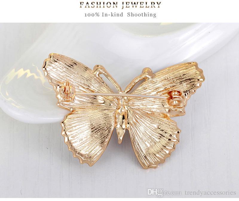 Золотой тон фиолетовый бабочка брошь с кристаллами горный хрусталь