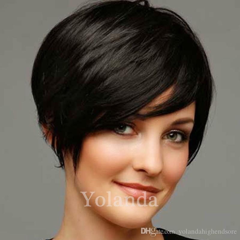 Short Machine Made Pixie Wig Human Hair Wigs With Bangs Straight Human Hair Wigs For Black Women Glueless Full Lace Hair Wigs