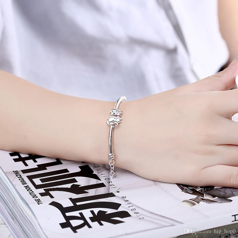 Latest Women Classy Design 925 Silver Plated Bracelet Factory Direct Sale Trendy Cute Cats Charms Bracelet & Bangle Lady Girl Birthday Gift