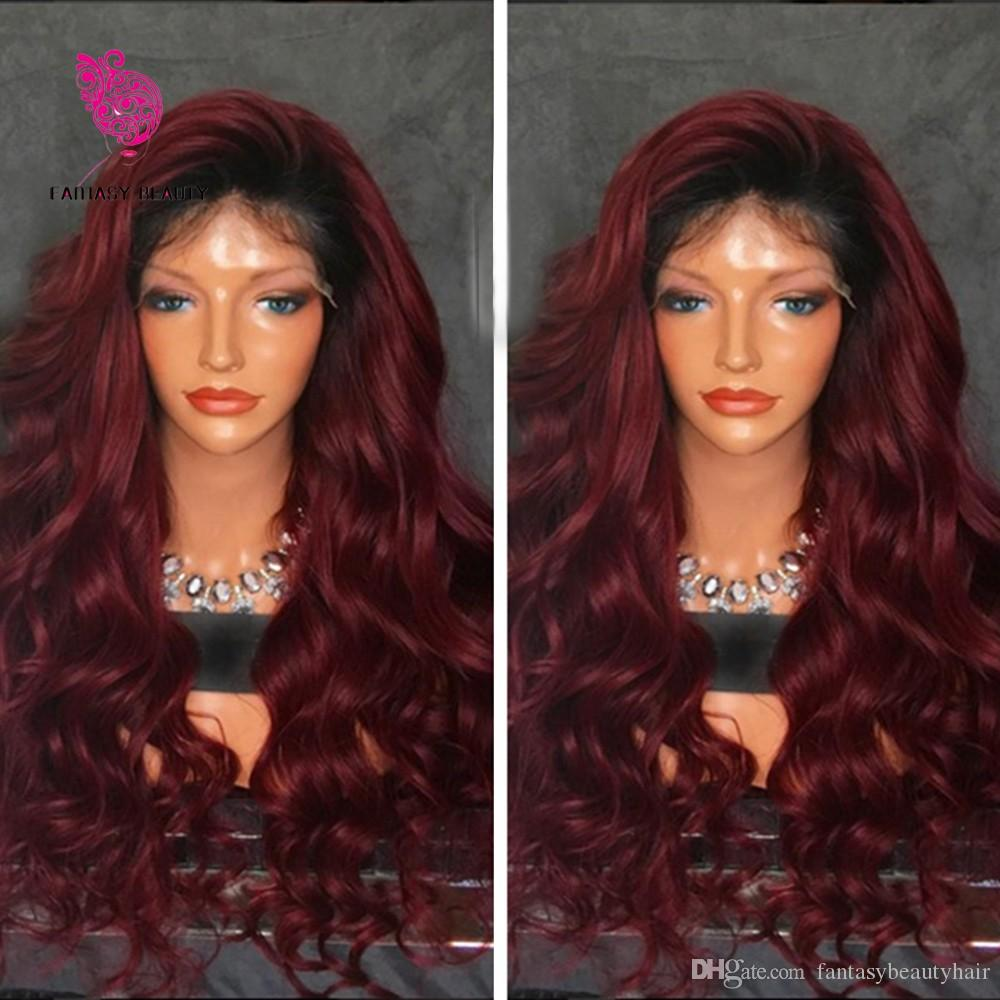 360 Lace Frontal Wigs For Black Women Ombre Deep Wave 150 Density 1BT 99j Two Tone Pre Plucked Natural Hairline 360 Lace Wig