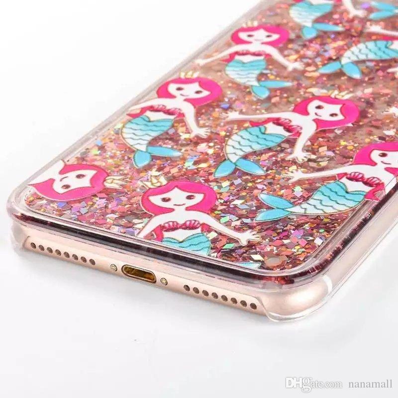 Mermaid Liquid Case for iPhone 4 4s 5 5s se Clear cover iPhone 7 7plus 6s plus Luxury Bling Capa