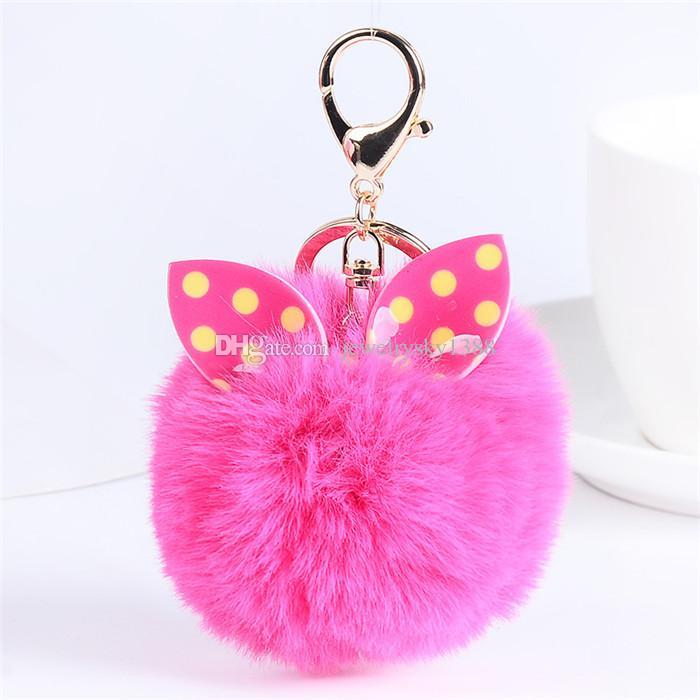 Lovely Bunny Polka Dots Fur Ball Fluffy Round Ball Rose Gold Plated Metal Keychain Keyring Car Key Chains Handbag Charms Gift