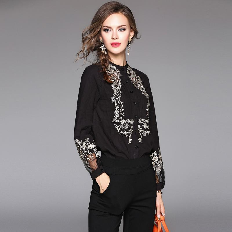 9a3b264f02026 Casual Vintage Lace Shirt Blouse Spring Hollow Out Embroidery Long ...