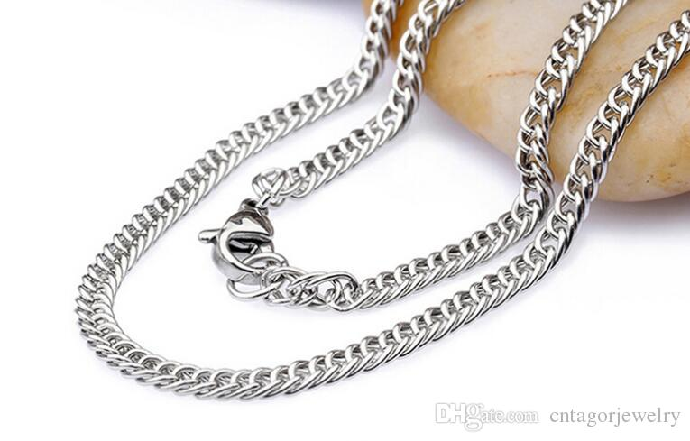 "Width 2.0mm/2.5mm/3.0mm 316L Stainless Steel Double Curb Linked Chain Necklace 18""-24"" inches"