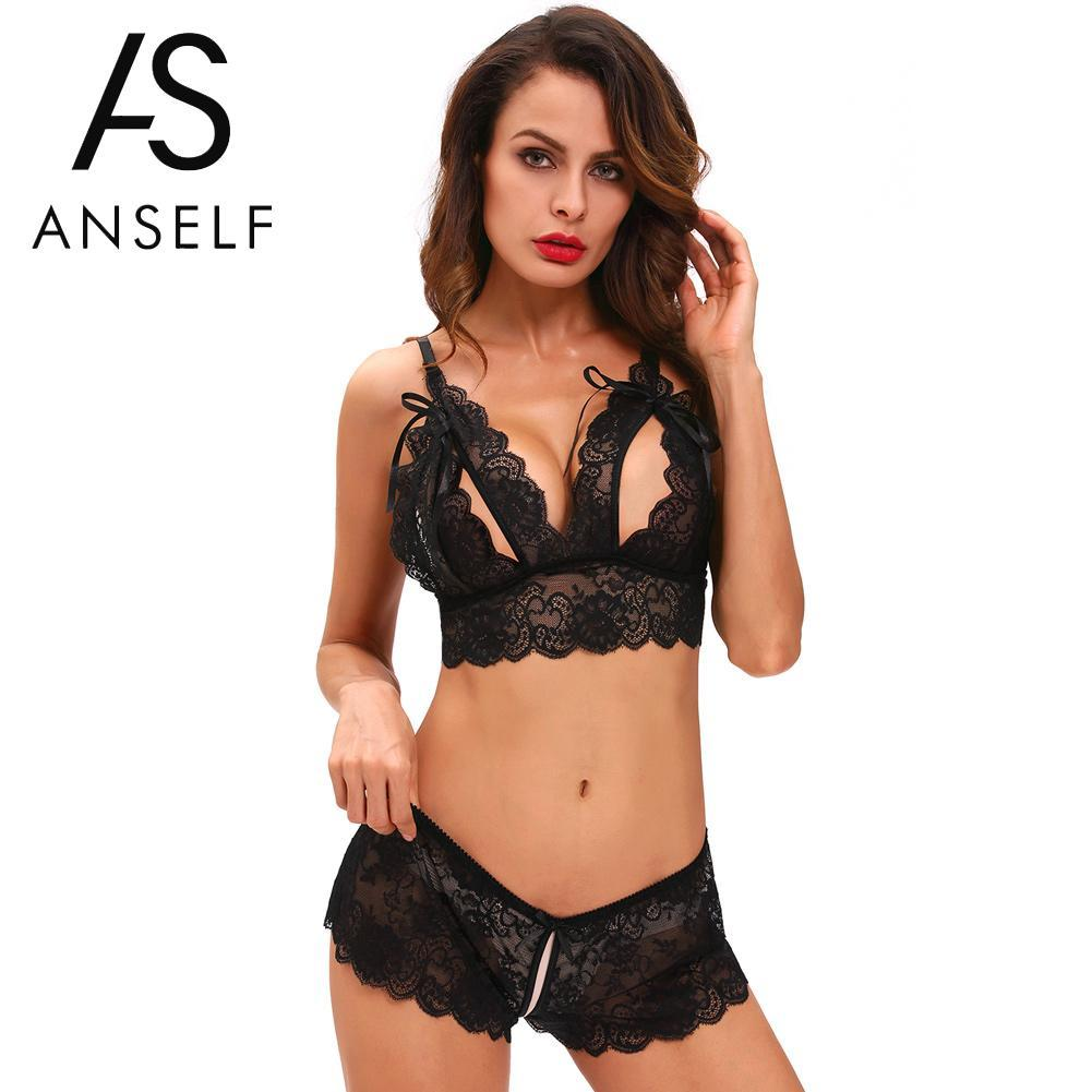 f7f58e81c 2019 Women Sexy Lingerie Set Erotic Bra Crotchless Underwear Lace Bow  Scalloped Adjustable Straps Sleepwear Transparent Bikini Set From Bichery