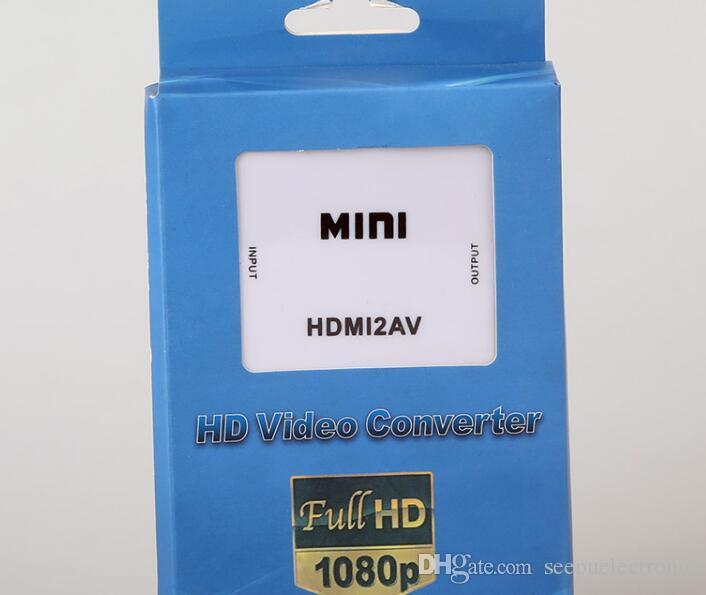 2017 HDMI Schnittstelle Mini HD Video Konverter Box HD zu AV / CVSB Video HDMI zu AV Adapter HDMI2AV Unterstützung NTSC und PAL-Ausgang