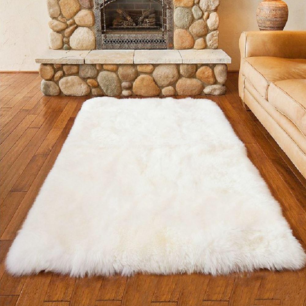 Luxury Rectangle Sheepskin Hairy Carpet Faux Mat Seat Pad Fur Plain ...