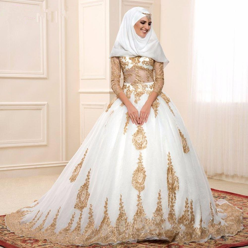 Gold And White Islamic Wedding Dresses Ball Gown Turkey With Three