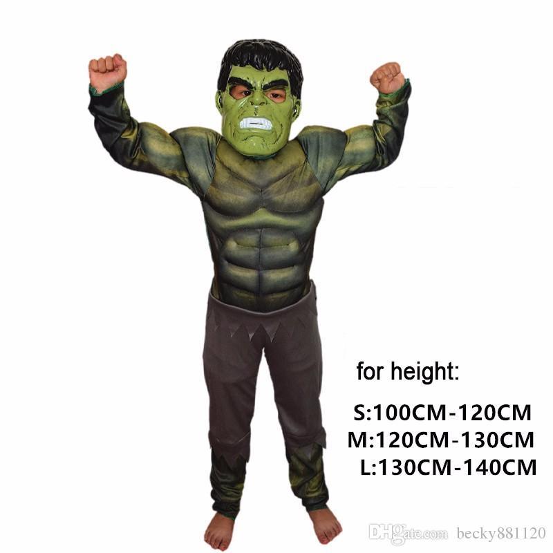 Wholesale Halloween Boys Muscle Super Hero Captain America Costume SpiderMan Batman Hulk Avengers Costumes Cosplay for Kids Boy Girl