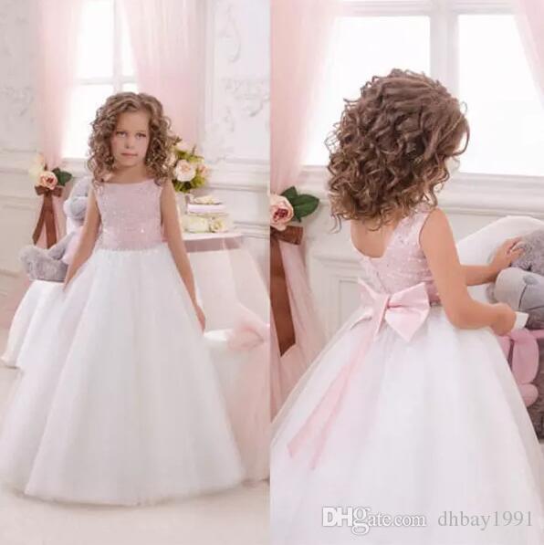 Fait sur mesure belle fleur rose pour les filles Robes Mariages Robes formelles Les jolies filles Mignon satin Puffy Tulle Pageant robe