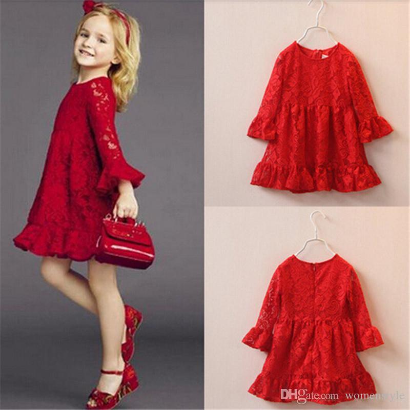 2019 Fashion Kids Beautiful Red Girls Toddler