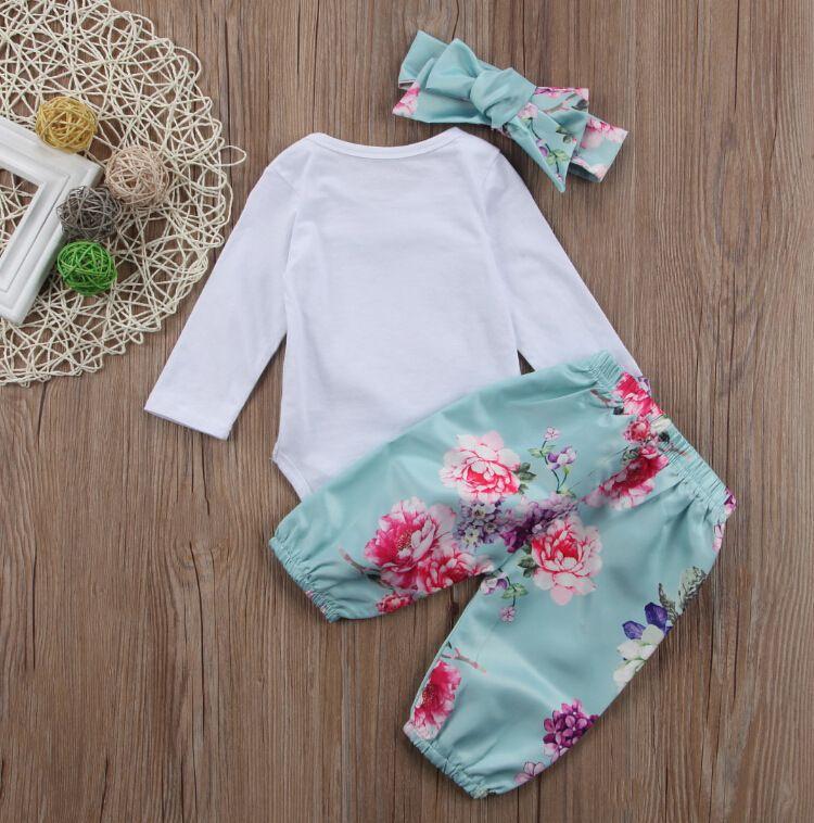 2019 Ropa para bebés Ropa interior Trajes Retro floral Romper con corazón Manga larga + Pantalón con diadema / set Otoño Nuevo estilo