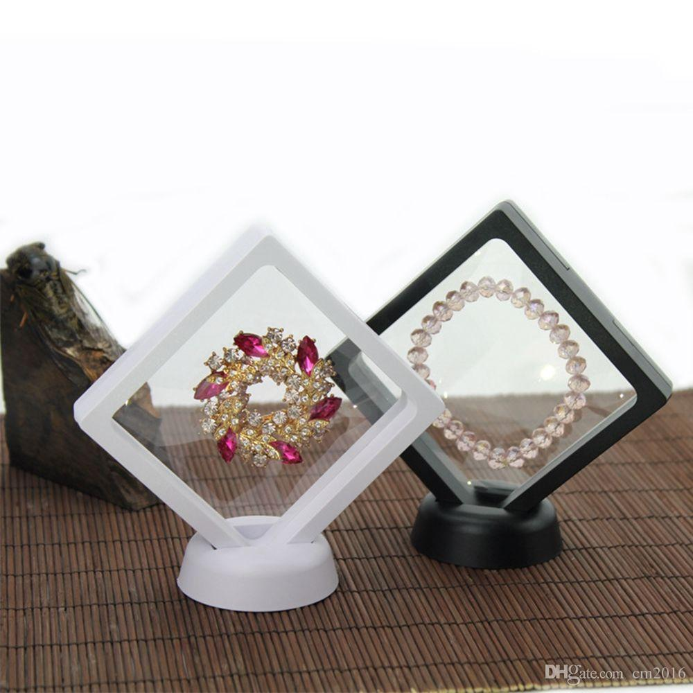 Black white Suspended Floating Display Case Jewellery Coins Gems Artefacts Stand Holder Box