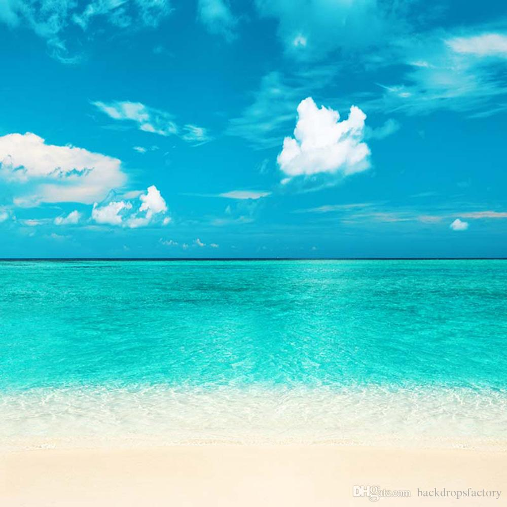 2018 turquoise blue seawater sky beach themed backdrop white clouds