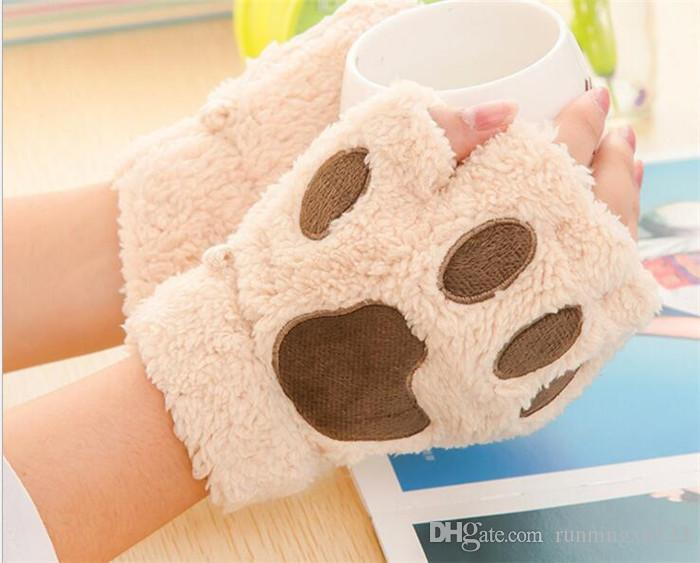 Woman Winter Fluffy Bear/Cat Plush Paw/Claw Glove-Novelty soft toweling lady's half covered Fingerless loves Christmas gift R050