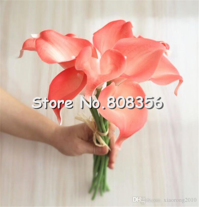 ラテックスカルス100ピース35cmエレガントなシリコン人工エジプトカルラユリアロカシアのプラブセーの花の結婚式のブライダルセンターピースの装飾