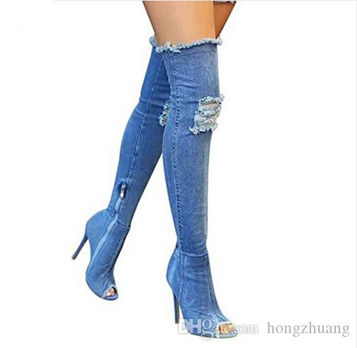 b542ad2f726 Women Denim shoes summer autumn peep toe Over The Knee Jeans Boots quality  High elastic jeans fashion Stiletto Heel boot high heels plus siz