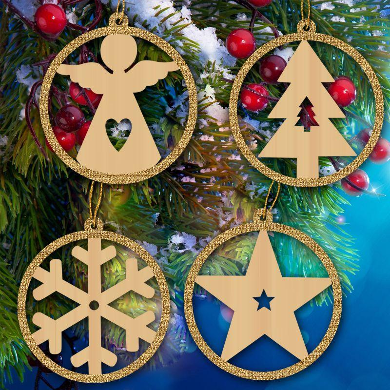 4-Pack wood christmas ornaments christmas decorations christmas decor snowflake angel tree star for Xmas tree, festive pary decoration
