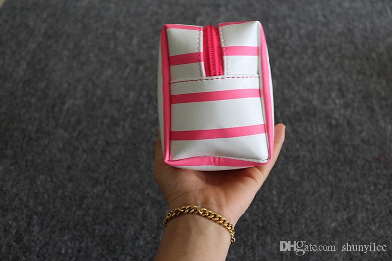 حقيبة مستحضرات التجميل شريطية صغيرة حقيبة ماكياج حقيبة أدوات الزينة الذهب الأسود المرأة سفر منظم يشكلون حالة الغرور F20172015