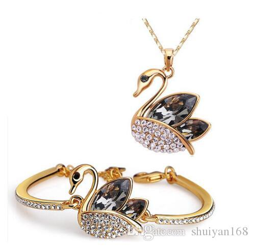 Austrian Crystal Jewelry Set DHL Silver Gold Plated Swan Crystal Jewelry Fine Bridal Diamond Bracelet And Necklace Set for Wedding Party