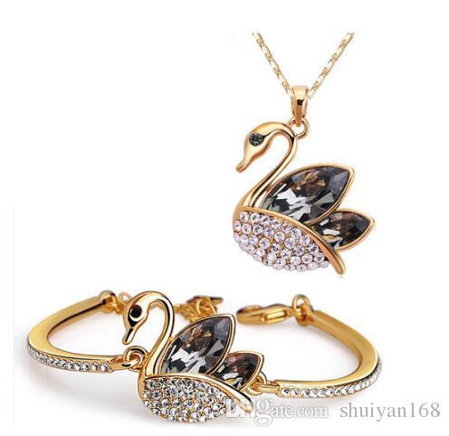 Bijoux en cristal autrichien DHL argent plaqué or Swan bijoux en cristal Bracelet de diamant de mariée et collier ensemble pour la noce