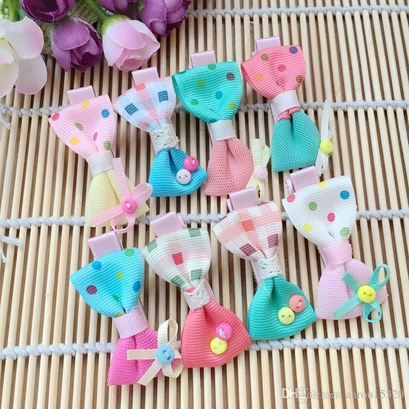 Puppy Dog bows dot hair clips cat hairpins barrette topknot pet Grooming dot Handmade Mix bow buttons hair accessories PD022