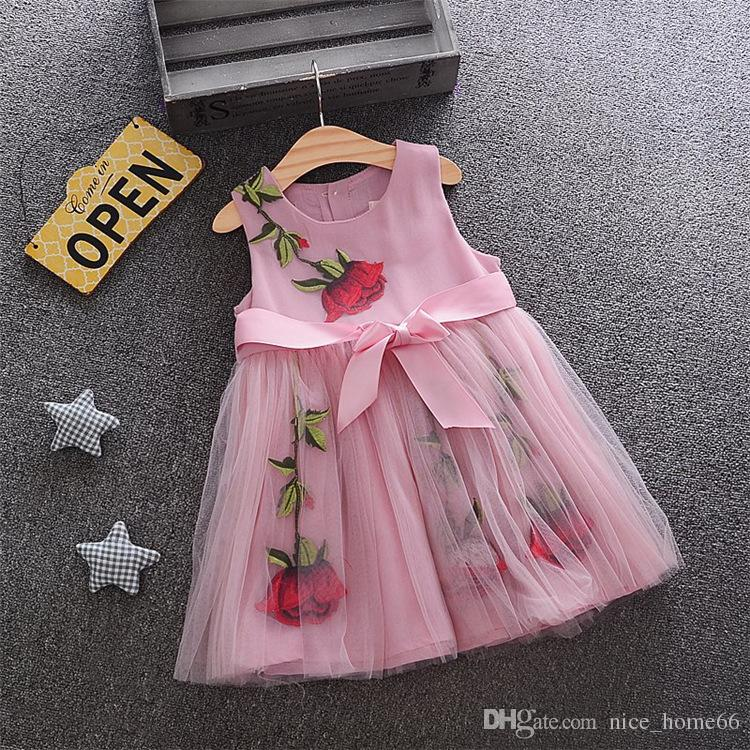 Cute Girl Lace Dress Baby Girl Summer tutu Dress Baby Children's Clothing Sleeveless Little Girl Rose Flower Princess Dress for Party