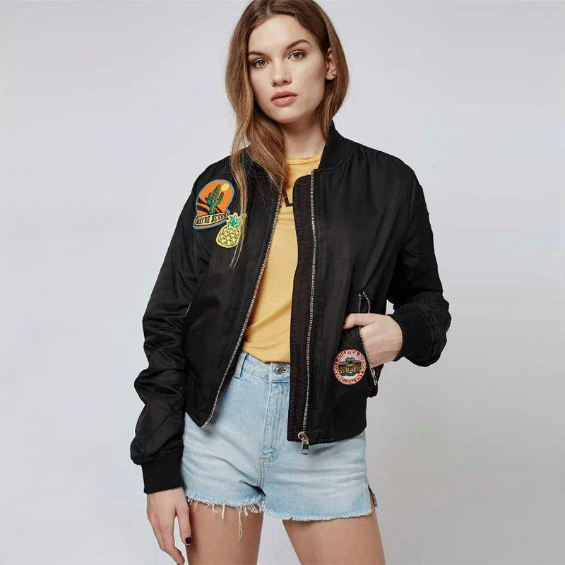 Vintage Ma1 Flight Bomber Jackets Embroidered Patches Women Jet ...