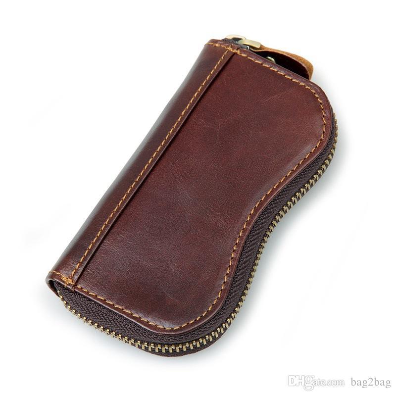 f09c1fce930e Genuine Leather Car Key Wallets Men Housekeeper Keys Organizer Women Key  Chain Covers Zipper Vintage Key Holder Pouch Case Bag Purse Wallet Leather  Coin ...