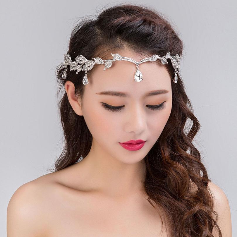 Nuevo 2017 hecho a mano de la joyería de la frente de la boda Tiara nupcial  diadema de cristal Rhinestone accesorios para el cabello Vintage mujeres ... 0a12d7a2ba70