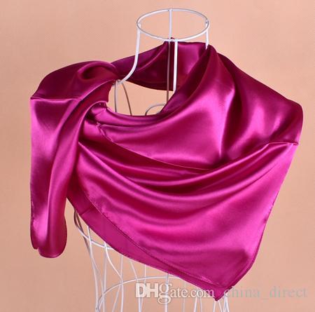 솔리드 새틴 로얄 실크 Hijabs 스퀘어 스카프, Neckscarf 스카프 90 * 90cm / 많이 # 2086