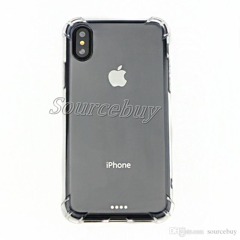 Phone Cases For iphone X 7 6 plus Transparent TPU Acrylic Bumper Shockproof Back Cover For Galaxy S6 S7 Edge Note8