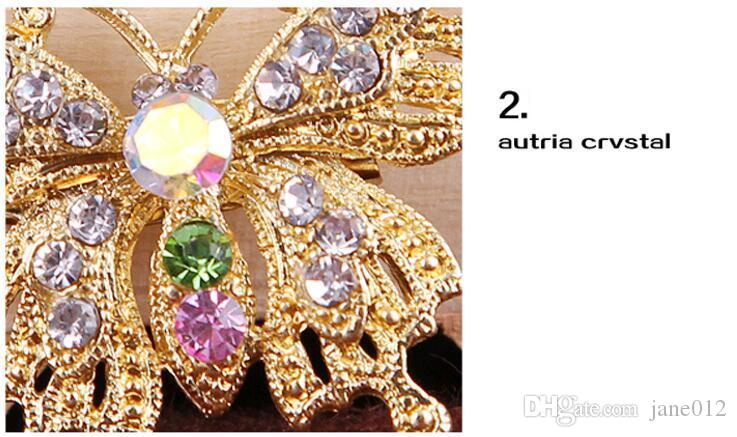 Fashion Trends Cute Korean Colorful Crystal Mini Butterfly Pin Brooch for Women Accessories Collar Buckle Wholesale