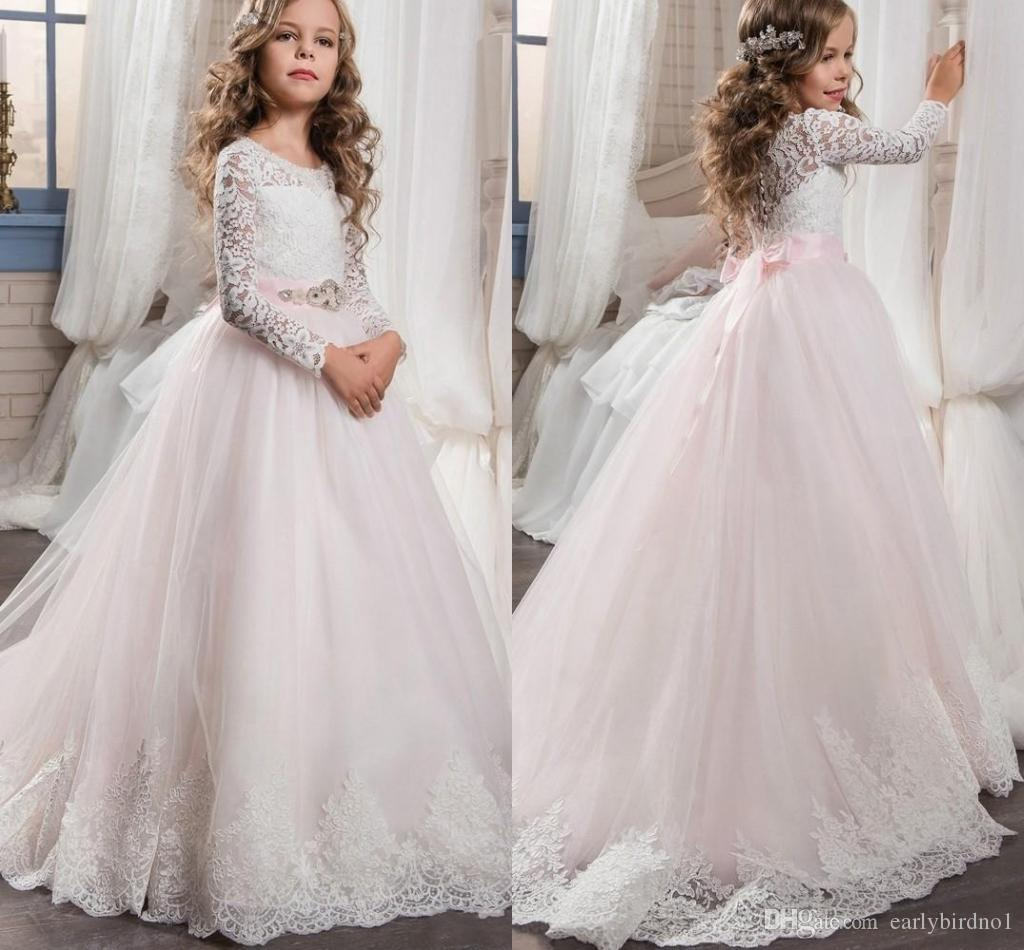 ab491cc437ae 2018 New Cute Lace Long Sleeves Flower Girl Dresses Button Back Pink Tulle  A Line Kid Formal Wear Sweep Train Pageant Party Gowns. Red And Black  Flower Girl ...