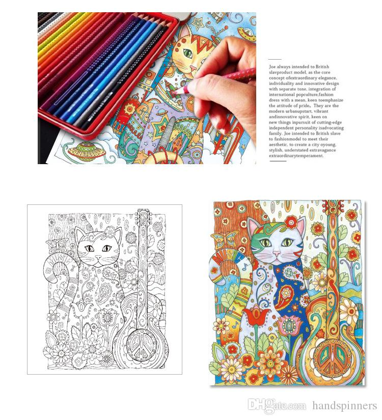Creative Cats Coloring Books Adult Children Gifts 2017 New Arrival Secret Garden Series Painting Wholesale Decompression Drawing Book2 Preschool